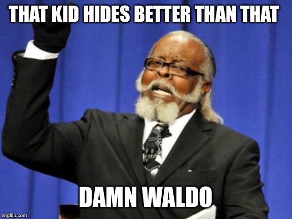 Too Damn High Meme | THAT KID HIDES BETTER THAN THAT DAMN WALDO | image tagged in memes,too damn high | made w/ Imgflip meme maker