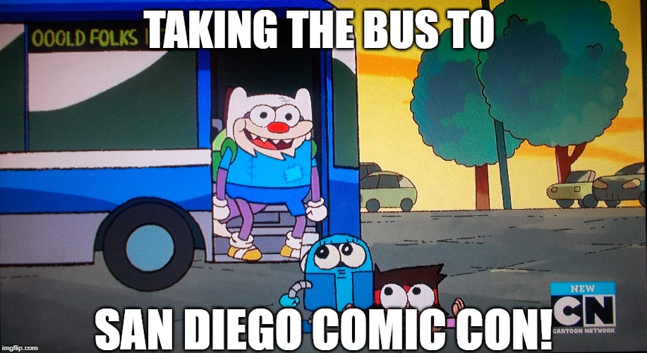 Crinkly Wrinkly going to Comic-Con dressed as Finn The Human | TAKING THE BUS TO SAN DIEGO COMIC CON! | image tagged in adventure time,ok ko lets be heroes,reference,meme | made w/ Imgflip meme maker