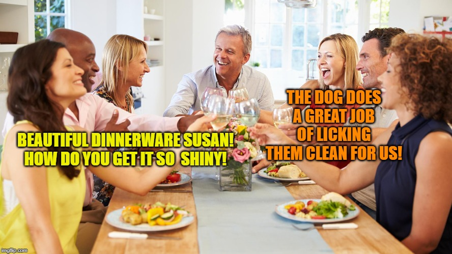 BEAUTIFUL DINNERWARE SUSAN! HOW DO YOU GET IT SO  SHINY! THE DOG DOES A GREAT JOB OF LICKING THEM CLEAN FOR US! | made w/ Imgflip meme maker