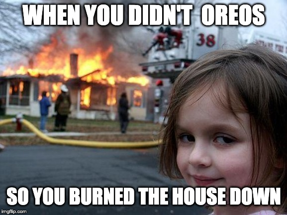 Disaster Girl Meme | WHEN YOU DIDN'T  OREOS SO YOU BURNED THE HOUSE DOWN | image tagged in memes,disaster girl | made w/ Imgflip meme maker