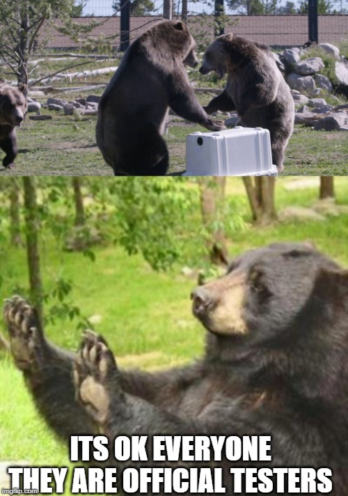 Only one way to test bearproofness | ITS OK EVERYONE THEY ARE OFFICIAL TESTERS | image tagged in memes,funny,fun,bear | made w/ Imgflip meme maker