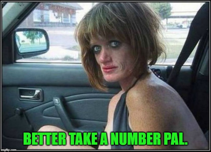 Ugly meth heroin addict Prostitute hoe in car | BETTER TAKE A NUMBER PAL. | image tagged in ugly meth heroin addict prostitute hoe in car | made w/ Imgflip meme maker