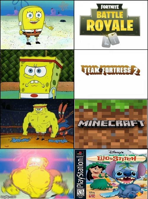 Very intresting..... | image tagged in sponge finna commit muder,fortnite,team fortress 2,minecraft,lilo and stitch | made w/ Imgflip meme maker
