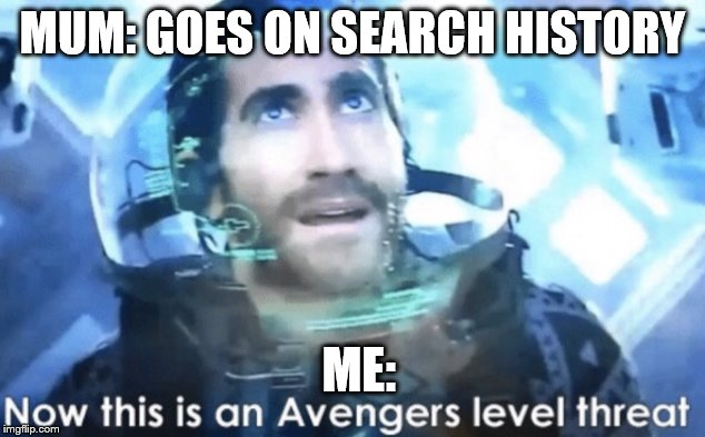 Now this is an Avengers level threat | MUM: GOES ON SEARCH HISTORY ME: | image tagged in now this is an avengers level threat | made w/ Imgflip meme maker
