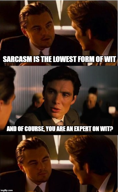Inception Meme | SARCASM IS THE LOWEST FORM OF WIT AND OF COURSE, YOU ARE AN EXPERT ON WIT? | image tagged in memes,inception | made w/ Imgflip meme maker