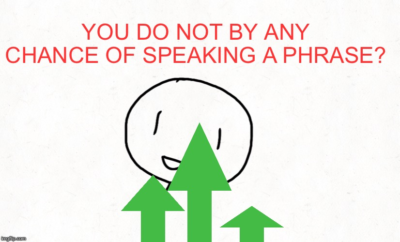 YOU DO NOT BY ANY CHANCE OF SPEAKING A PHRASE? | made w/ Imgflip meme maker
