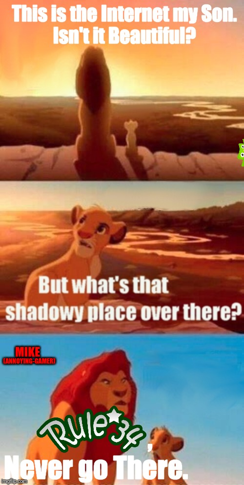 Simba Shadowy Place Meme | This is the Internet my Son.Isn't it Beautiful? ,Never go There. MIKE (ANNOYING-GAMER) | image tagged in memes,simba shadowy place | made w/ Imgflip meme maker