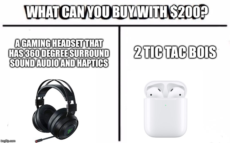 Who Would Win? Meme | WHAT CAN YOU BUY WITH $200? A GAMING HEADSET THAT HAS 360 DEGREE SURROUND SOUND AUDIO AND HAPTICS 2 TIC TAC BOIS | image tagged in memes,who would win | made w/ Imgflip meme maker