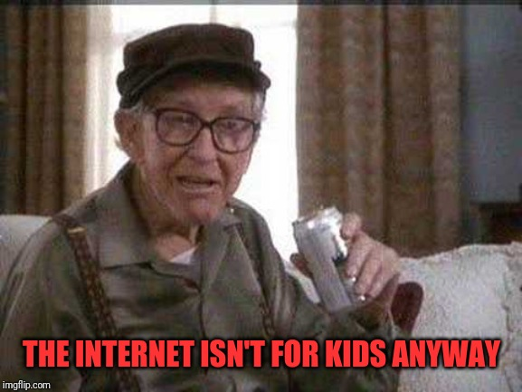 Grumpy old Man | THE INTERNET ISN'T FOR KIDS ANYWAY | image tagged in grumpy old man | made w/ Imgflip meme maker