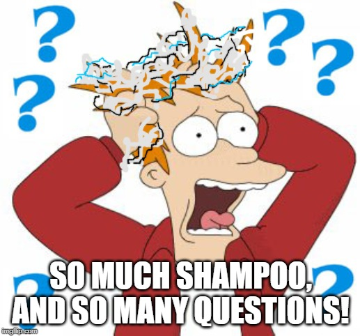 Pull hair | SO MUCH SHAMPOO, AND SO MANY QUESTIONS! | image tagged in pull hair | made w/ Imgflip meme maker