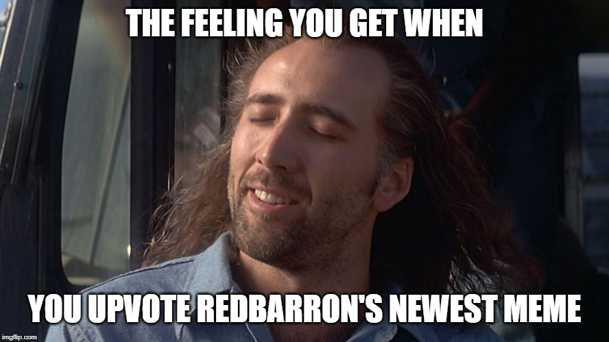 Nicolas Cage Feeling You Get | THE FEELING YOU GET WHEN YOU UPVOTE REDBARRON'S NEWEST MEME | image tagged in nicolas cage feeling you get | made w/ Imgflip meme maker