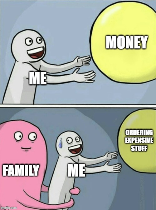 Running Away Balloon Meme | ME MONEY FAMILY ME ORDERING EXPENSIVE STUFF | image tagged in memes,running away balloon | made w/ Imgflip meme maker