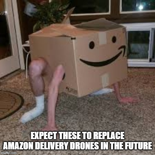 Another terrible invention | EXPECT THESE TO REPLACE AMAZON DELIVERY DRONES IN THE FUTURE | image tagged in memes | made w/ Imgflip meme maker