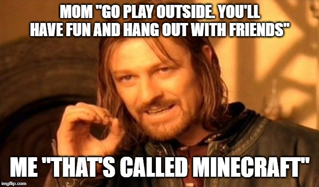 "play more minecraft! | MOM ""GO PLAY OUTSIDE. YOU'LL HAVE FUN AND HANG OUT WITH FRIENDS"" ME ""THAT'S CALLED MINECRAFT"" 