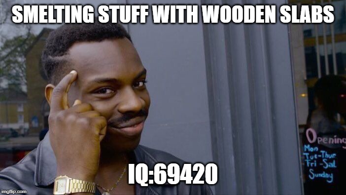 Roll Safe Think About It Meme | SMELTING STUFF WITH WOODEN SLABS IQ:69420 | image tagged in memes,roll safe think about it | made w/ Imgflip meme maker