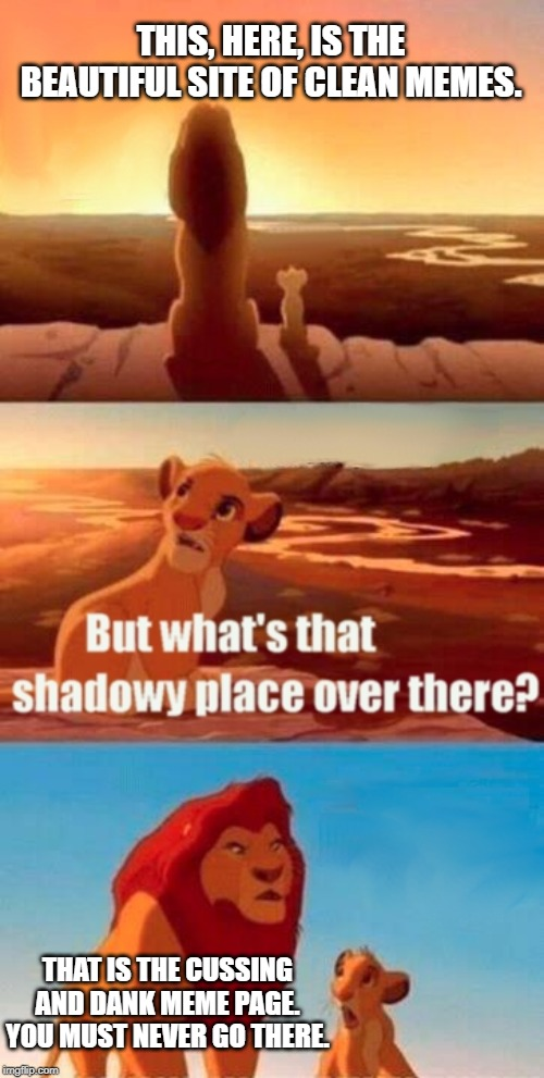 Simba Shadowy Place | THIS, HERE, IS THE BEAUTIFUL SITE OF CLEAN MEMES. THAT IS THE CUSSING AND DANK MEME PAGE. YOU MUST NEVER GO THERE. | image tagged in memes,simba shadowy place,funny memes,gifs,good meme,lion king | made w/ Imgflip meme maker