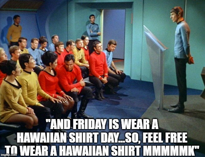 "Spock Lumberg | ""AND FRIDAY IS WEAR A HAWAIIAN SHIRT DAY...SO, FEEL FREE TO WEAR A HAWAIIAN SHIRT MMMMMK"" 