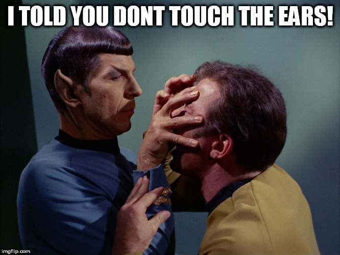 I TOLD YOU DONT TOUCH THE EARS! | image tagged in vulcan death grip | made w/ Imgflip meme maker