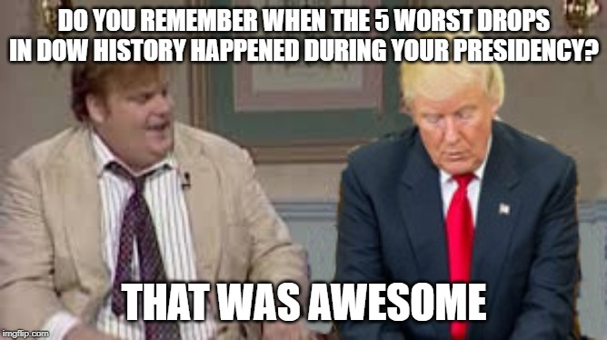 But he's such a good businessman! | DO YOU REMEMBER WHEN THE 5 WORST DROPS IN DOW HISTORY HAPPENED DURING YOUR PRESIDENCY? THAT WAS AWESOME | image tagged in donald trump,stock market,republicans,conservative logic | made w/ Imgflip meme maker