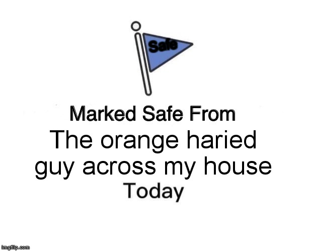 Marked Safe From Meme | The orange haried guy across my house Safe | image tagged in memes,marked safe from | made w/ Imgflip meme maker