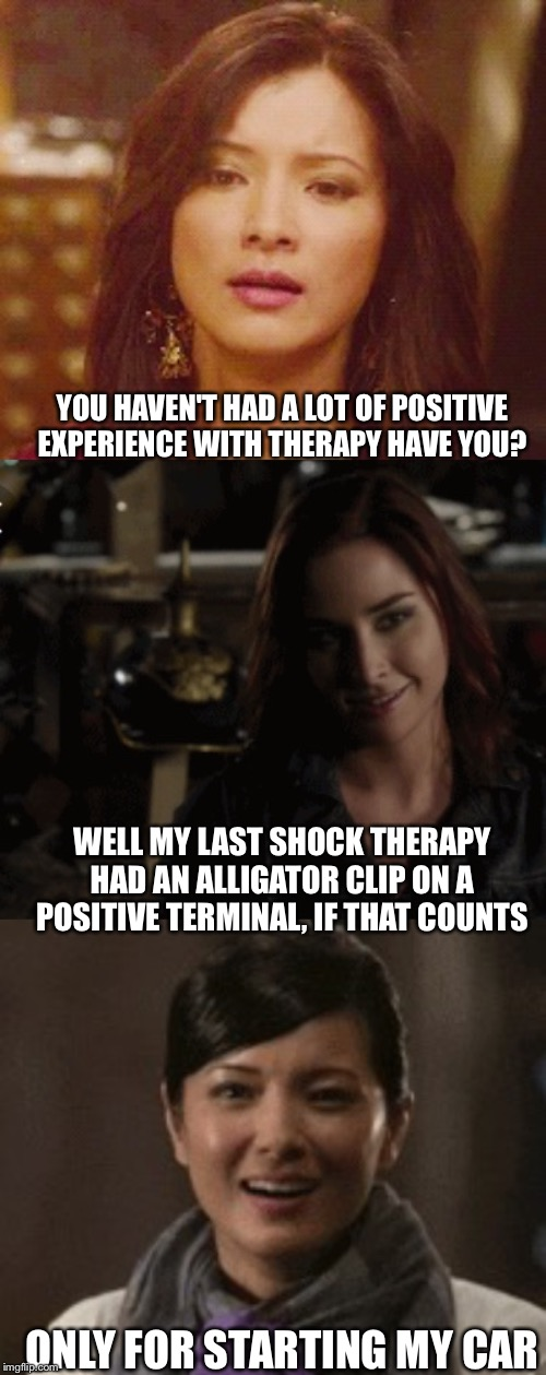 Positive charge | YOU HAVEN'T HAD A LOT OF POSITIVE EXPERIENCE WITH THERAPY HAVE YOU? ONLY FOR STARTING MY CAR WELL MY LAST SHOCK THERAPY HAD AN ALLIGATOR CLI | image tagged in fun | made w/ Imgflip meme maker