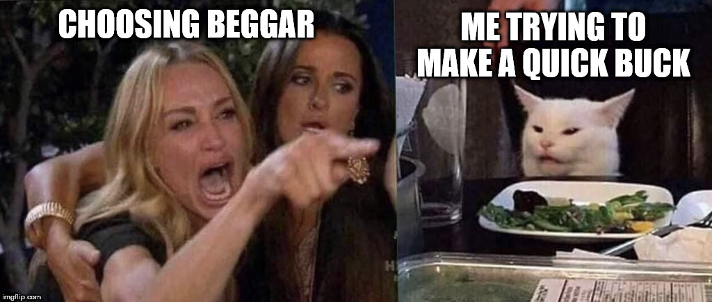 Choosing Beggars | CHOOSING BEGGAR ME TRYING TO MAKE A QUICK BUCK | image tagged in woman yelling at cat,choosing beggars,money,begging,sales | made w/ Imgflip meme maker