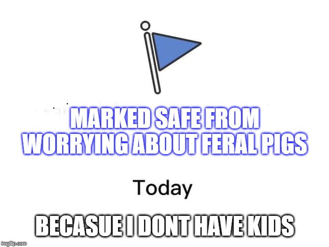 Marked safe from | MARKED SAFE FROM WORRYING ABOUT FERAL PIGS BECASUE I DONT HAVE KIDS | image tagged in marked safe from | made w/ Imgflip meme maker
