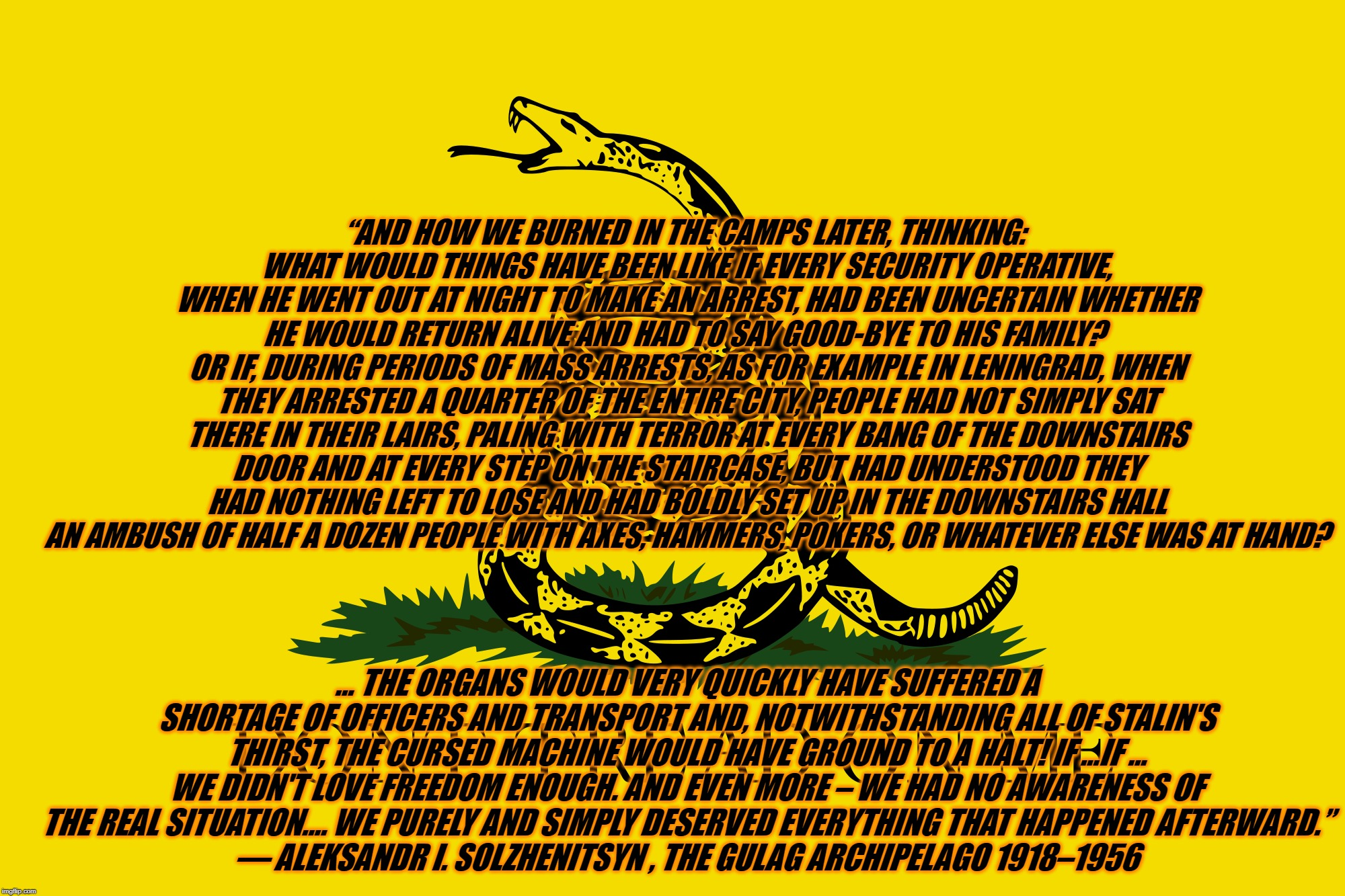 "Gulag and the Gadsden | ""AND HOW WE BURNED IN THE CAMPS LATER, THINKING: WHAT WOULD THINGS HAVE BEEN LIKE IF EVERY SECURITY OPERATIVE, WHEN HE WENT OUT AT NIGHT TO 