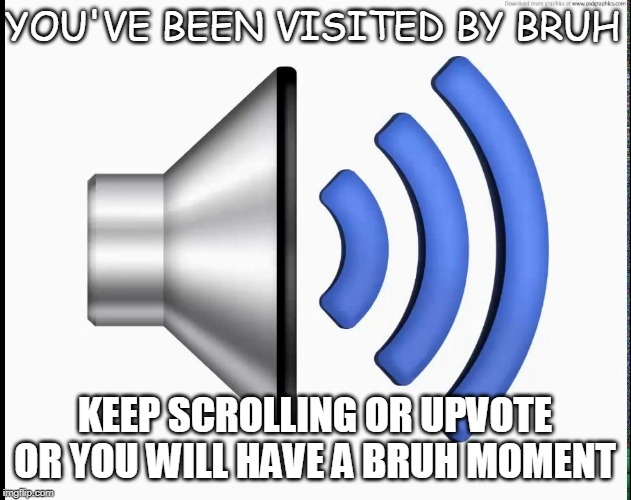 HEY! Bruh moment | YOU'VE BEEN VISITED BY BRUH KEEP SCROLLING OR UPVOTE OR YOU WILL HAVE A BRUH MOMENT | image tagged in bruh,that moment | made w/ Imgflip meme maker