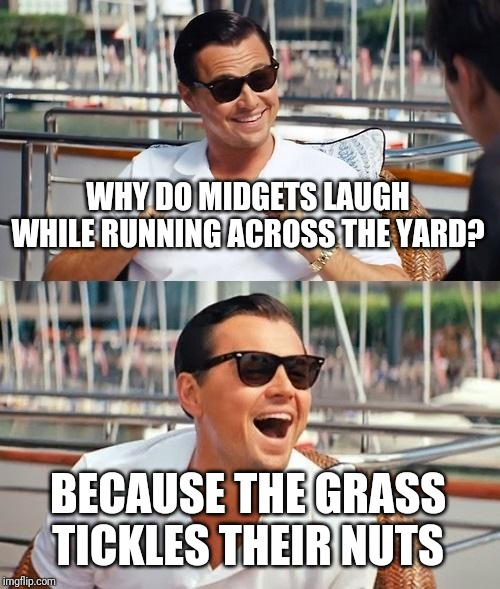 Leonardo Dicaprio Wolf Of Wall Street Meme | WHY DO MIDGETS LAUGH WHILE RUNNING ACROSS THE YARD? BECAUSE THE GRASS TICKLES THEIR NUTS | image tagged in memes,leonardo dicaprio wolf of wall street | made w/ Imgflip meme maker