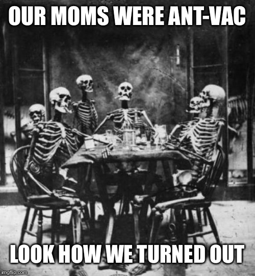 Skeletons  | OUR MOMS WERE ANT-VAC LOOK HOW WE TURNED OUT | image tagged in skeletons | made w/ Imgflip meme maker