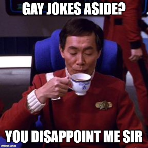 Sulu tea | GAY JOKES ASIDE? YOU DISAPPOINT ME SIR | image tagged in sulu tea | made w/ Imgflip meme maker