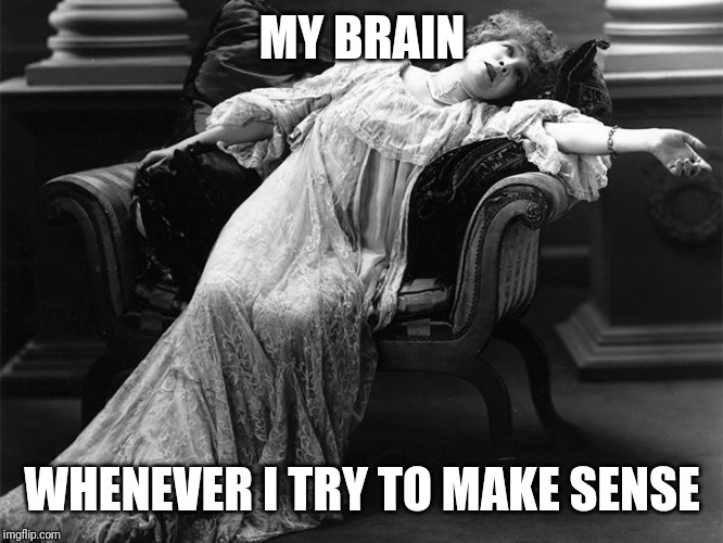 Vintage fainting woman | MY BRAIN WHENEVER I TRY TO MAKE SENSE | image tagged in vintage fainting woman | made w/ Imgflip meme maker