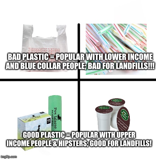 Blank Starter Pack Meme | BAD PLASTIC = POPULAR WITH LOWER INCOME AND BLUE COLLAR PEOPLE; BAD FOR LANDFILLS!!! GOOD PLASTIC = POPULAR WITH UPPER INCOME PEOPLE & HIPST | image tagged in memes,blank starter pack | made w/ Imgflip meme maker
