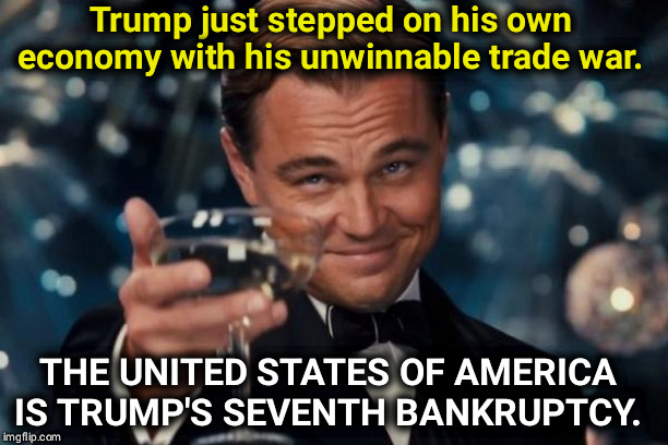 Trump is losing and taking us all down with him | Trump just stepped on his own economy with his unwinnable trade war. THE UNITED STATES OF AMERICA IS TRUMP'S SEVENTH BANKRUPTCY. | image tagged in memes,leonardo dicaprio cheers,trump,economy,loser,trade war | made w/ Imgflip meme maker
