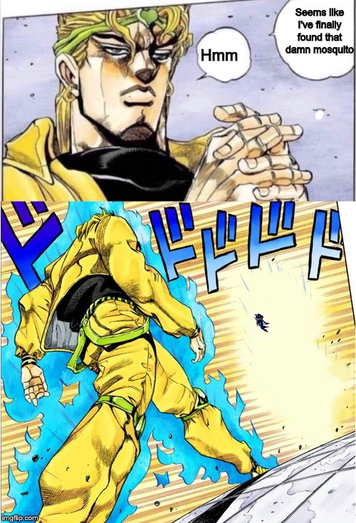 A little closer to Heaven | Seems like I've finally found that damn mosquito Hmm | image tagged in jojovsdio,memes,mosquito,jojo's bizarre adventure | made w/ Imgflip meme maker
