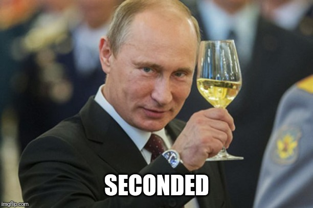 Putin Cheers | SECONDED | image tagged in putin cheers | made w/ Imgflip meme maker