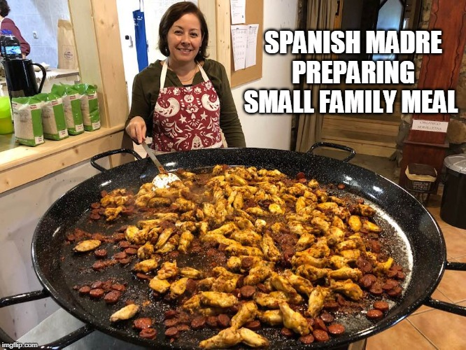 Small family meal... | SPANISH MADRE PREPARING SMALL FAMILY MEAL | image tagged in cooking,mexican food,small family,family dinner,memes | made w/ Imgflip meme maker