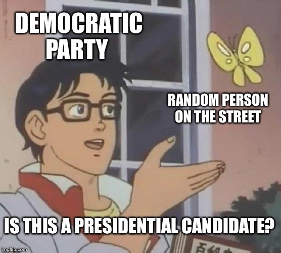 Is This A Pigeon | DEMOCRATIC PARTY RANDOM PERSON ON THE STREET IS THIS A PRESIDENTIAL CANDIDATE? | image tagged in memes,is this a pigeon | made w/ Imgflip meme maker
