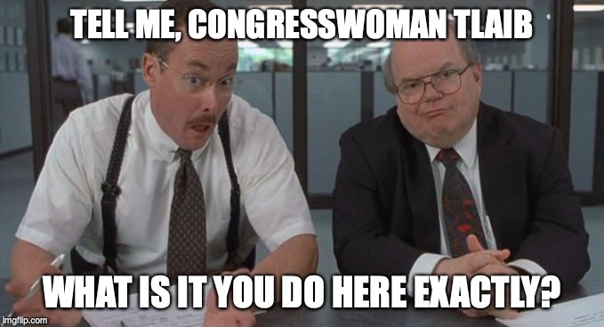 office space what do you do here | TELL ME, CONGRESSWOMAN TLAIB WHAT IS IT YOU DO HERE EXACTLY? | image tagged in office space what do you do here,tlaib,politics | made w/ Imgflip meme maker