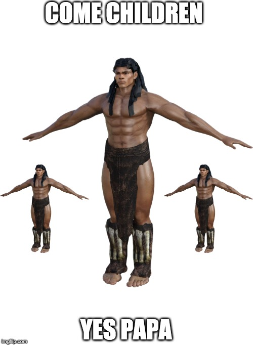Cavemen | COME CHILDREN YES PAPA | image tagged in caveman,funny,random,t-pose | made w/ Imgflip meme maker