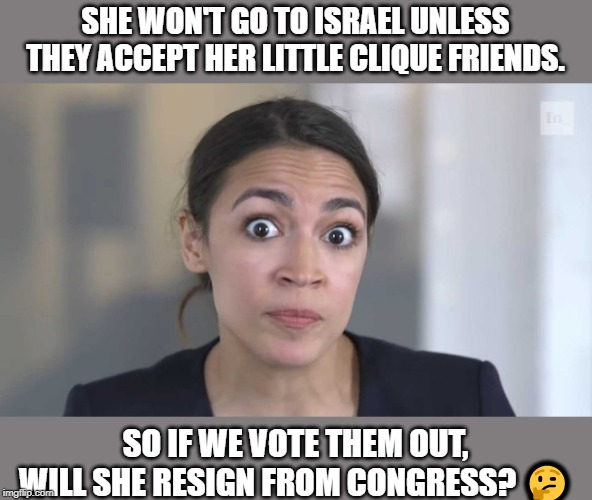 Long shot, but worth testing. | SHE WON'T GO TO ISRAEL UNLESS THEY ACCEPT HER LITTLE CLIQUE FRIENDS. SO IF WE VOTE THEM OUT, WILL SHE RESIGN FROM CONGRESS? ? | image tagged in politics,memes,funny,question,aoc,squad | made w/ Imgflip meme maker