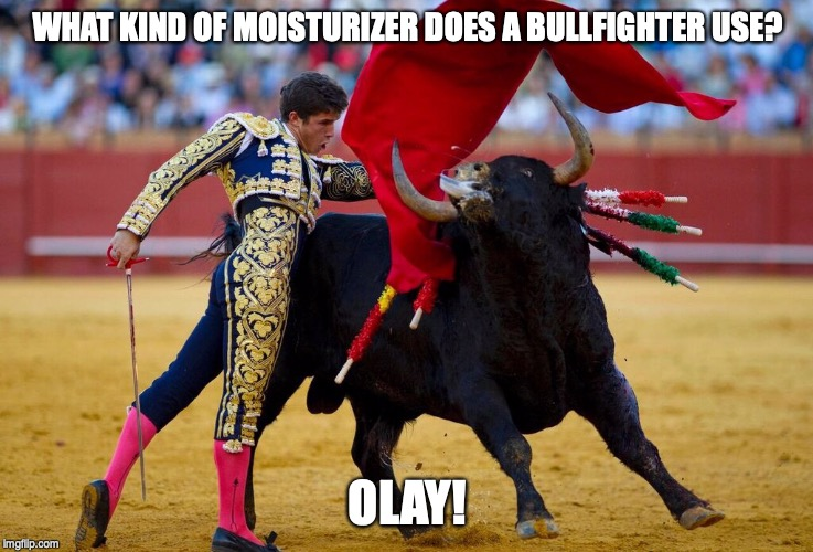 WHAT KIND OF MOISTURIZER DOES A BULLFIGHTER USE? OLAY! | image tagged in dad joke,bad pun | made w/ Imgflip meme maker