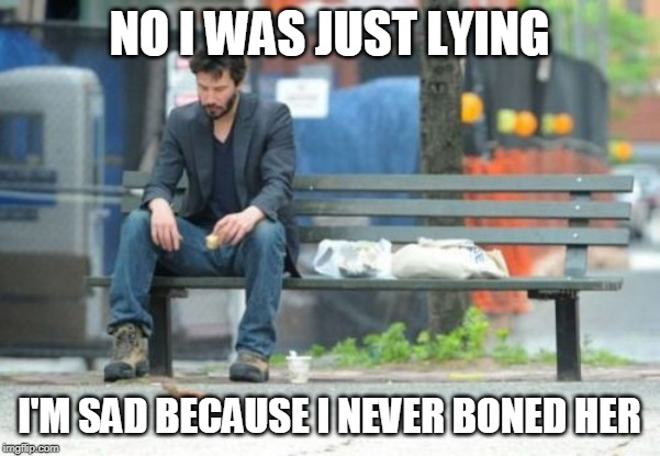 NO I WAS JUST LYING I'M SAD BECAUSE I NEVER BONED HER | image tagged in memes,sad keanu | made w/ Imgflip meme maker