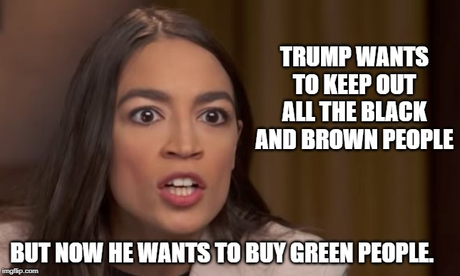 AOC | TRUMP WANTS TO KEEP OUT ALL THE BLACK AND BROWN PEOPLE BUT NOW HE WANTS TO BUY GREEN PEOPLE. | image tagged in aoc | made w/ Imgflip meme maker