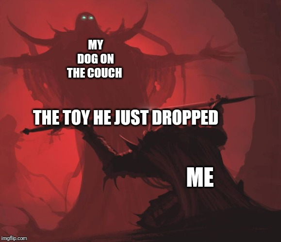 Man giving sword to larger man | ME MY DOG ON THE COUCH THE TOY HE JUST DROPPED | image tagged in man giving sword to larger man | made w/ Imgflip meme maker