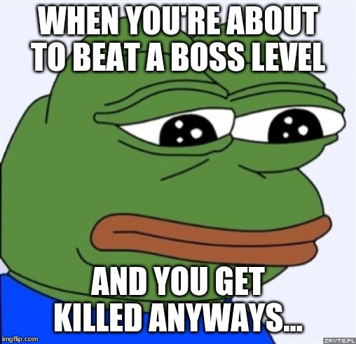 sad frog | WHEN YOU'RE ABOUT TO BEAT A BOSS LEVEL AND YOU GET KILLED ANYWAYS... | image tagged in sad frog | made w/ Imgflip meme maker