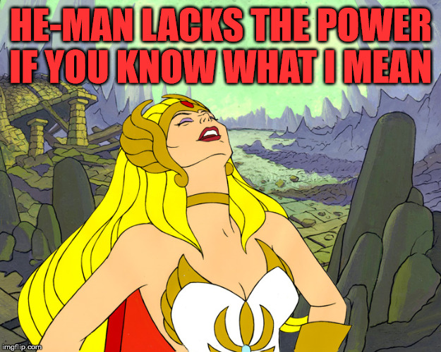 Old school humor | HE-MAN LACKS THE POWER IF YOU KNOW WHAT I MEAN | image tagged in she-ra-laughter | made w/ Imgflip meme maker
