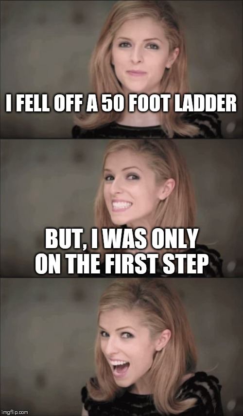 OMG Anna |  I FELL OFF A 50 FOOT LADDER; BUT, I WAS ONLY ON THE FIRST STEP | image tagged in bad pun anna kendrick,fall,ladder | made w/ Imgflip meme maker