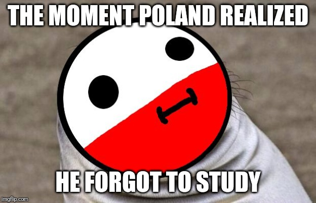 Poland procrastanates | THE MOMENT POLAND REALIZED HE FORGOT TO STUDY | image tagged in awkward moment polandball | made w/ Imgflip meme maker